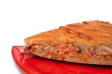 Free A Piece Of A Fish Pie On A Red Plate Stock Photo - 36416160