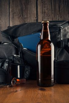 Free Bottle Of Beer On Tourism Basket Background Royalty Free Stock Photo - 36416305