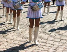 Free Drummer Girls March On City Day Royalty Free Stock Image - 36419106