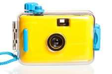 Free Yellow Plastic Camera For Underwater Shooting Royalty Free Stock Photography - 36428227