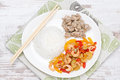 Free Chinese Food-rice, Chicken And Vegetables With Shrimp, Top View Stock Photography - 36435652