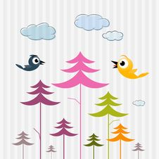 Paper Trees, Birds And Clouds Royalty Free Stock Image