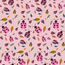 Pink Background With Ladybirds And Leaves Royalty Free Stock Image