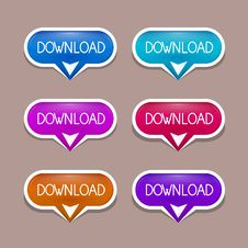 Free Paper Download Buttons Set Stock Photography - 36431702