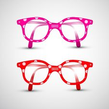 Free Funny Red, Pink Glasses With Dots Royalty Free Stock Photo - 36431745