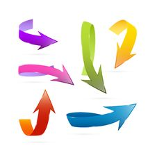 3d Arrows Set Isolated On White Background Royalty Free Stock Images