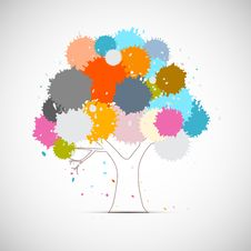 Vector Tree With Colorful Blots, Splashes Stock Photography