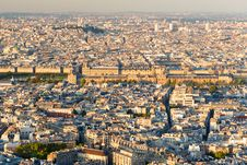 Free View Of Paris. Louvre In The Center. Stock Photo - 36433230