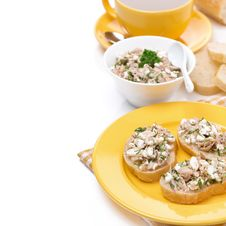 Free Breakfast - Toasts With Tuna And Cheese, Coffee Stock Photos - 36435653