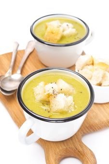 Free Zucchini Soup With Croutons In A Cups, Royalty Free Stock Images - 36435829