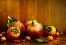 Free Persimmon, Pomegranate And Citrus Fruits Stock Image - 36437501