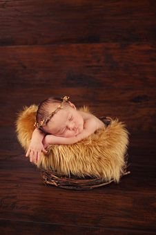 Free Newborn Baby Wearing A Twig Crown Royalty Free Stock Images - 36437969
