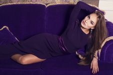 Free Beautiful Girl In Purple Dress Royalty Free Stock Photos - 36438688
