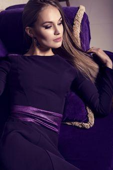 Free Beautiful Girl In Purple Dress Stock Image - 36439001