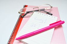 Free Pink Pen Notebook And Glasses Word Ready Royalty Free Stock Photo - 36439675
