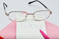 Free Word Plan Messege On Pink Pen Notebook With Glasses Stock Photos - 36439743