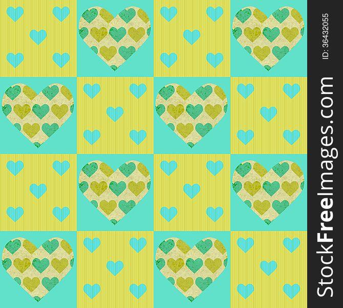 Valentines vector patchwork seamless pattern