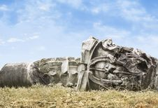 Free Felled Ancient Columns On Sky Background Stock Photography - 36441862