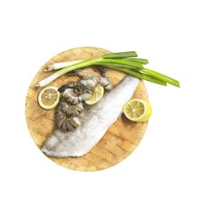 Free Fresh Fish Fillets, Shrimp, Lemon And Onions On Board, White Background Royalty Free Stock Photography - 36442137