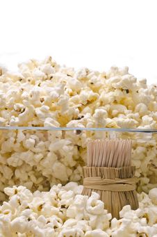 Free Wooden Toothpicks And Popcorn Royalty Free Stock Photography - 36445367