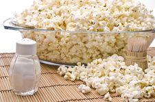 Wooden Toothpicks, Salt And Popcorn Stock Image