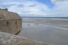 Free The City Wall And The View From Mont Saint Michel Stock Images - 36447194