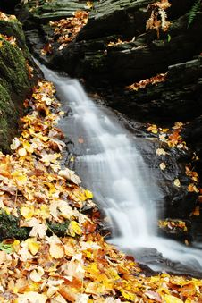 Free Little Waterfall With Colorful Leaves, Autumn In The Nature Stock Photography - 36447312
