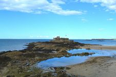Free Saint Malo Castle In The Mid Tide, France Stock Image - 36448071