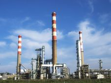 Free Oil Refinery With Several Towers. Stock Image - 36448451