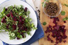 Free Beetroot Watercress Salad Royalty Free Stock Image - 36448686