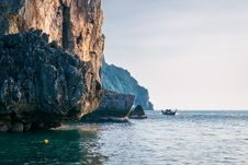 Landscape. Sea, Rocks And A Boat Royalty Free Stock Photography