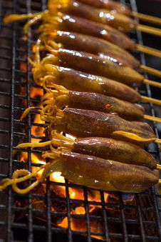 Free Raw Cuttlefish On The Barbecue Stock Images - 36449364