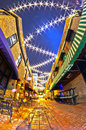 Free Charlotte, Nc - January 1st, 2014: Night View Of A Narrow Alley Royalty Free Stock Photo - 36458815