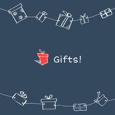 Free Sketch Gift Boxes Garland Stock Image - 36458421