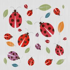 Textile Background With Ladybirds And Leaves Royalty Free Stock Photography