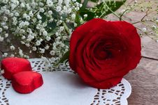 Red Rose And Chocolates Royalty Free Stock Images