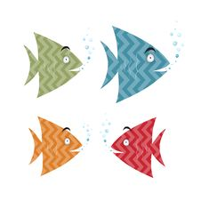 Free Abstract Retro Fish Set Illustration Stock Photos - 36459433