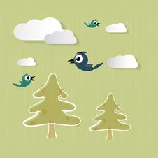 Nature Background With Clouds, Trees, Birds Stock Photo
