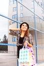 Free Beautiful Young Girl Enjoys Shopping Stock Photo - 36463400