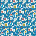 Free Seamless Pattern. Paper Present Boxes On Blue Background Royalty Free Stock Photos - 36463528