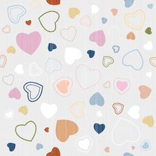 Free Retro Textile Seamless Hearts Pattern Royalty Free Stock Photo - 36460115