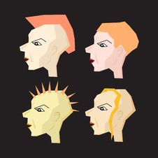 Free Women Punk Head Illustration Royalty Free Stock Photography - 36461427