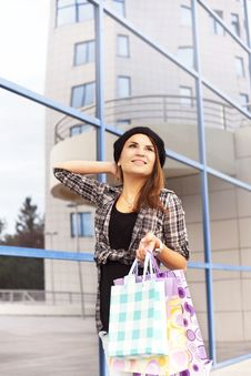 Free Beautiful Young Girl Enjoys Shopping Stock Photo - 36463400