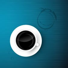 Free Cup Of Coffee On Blue Background Royalty Free Stock Photo - 36464275