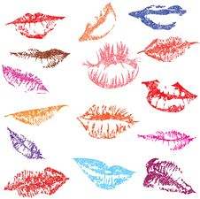 Set Of Glossy Lips In Tender Kiss. Royalty Free Stock Photos