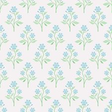 Free Seamless Vector Pattern With Blue Flowers Stock Photography - 36479402