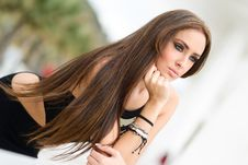 Free Young Woman, Wearing Black Dress, With Long Hair Royalty Free Stock Photo - 36480065