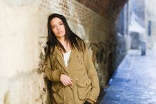 Free Young Woman With Green Eyes In Urban Background Royalty Free Stock Image - 36480206