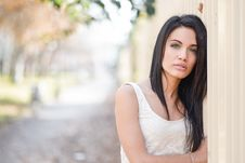 Free Young Woman With Green Eyes In Urban Background Stock Photography - 36480292
