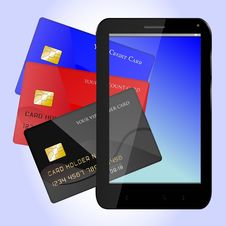 Free Cards Over Smartphone Royalty Free Stock Image - 36482776
